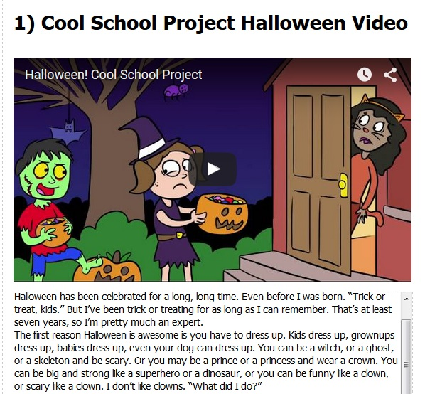 Present Simple Present Continuous Present Perfect for children in a Halloween story